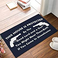 This House is Protected - Good Lord and A Gun Sign Doormats Entrance Front Door Rug Outdoors/Indoor/Bathroom/Kitchen…