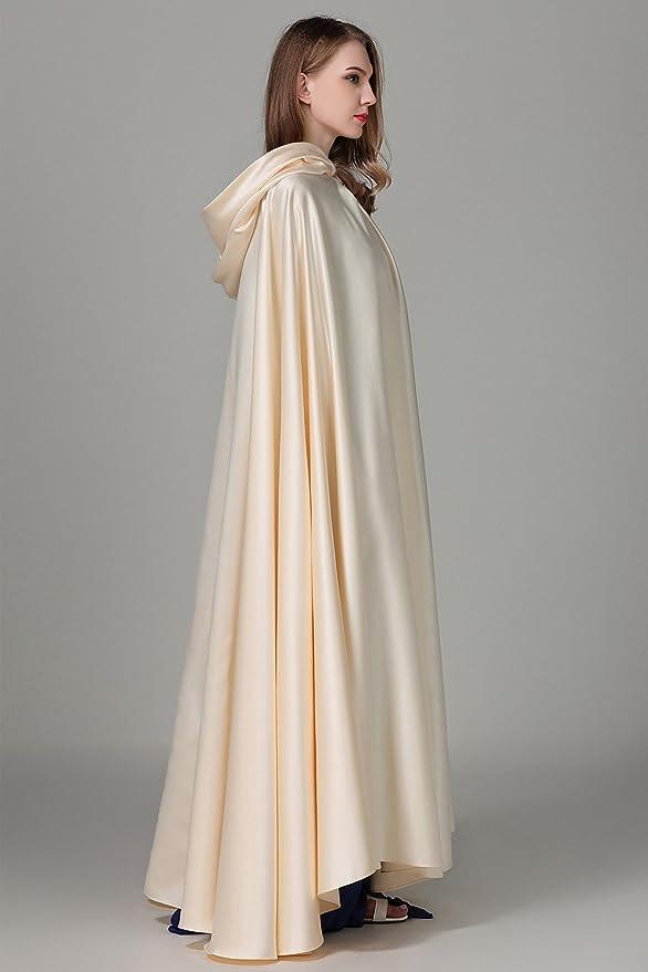 d023e3a952ee4e BEAUTELICATE Umhänge Cape Damen Mit Kapuze Satin Lang Hochzeit Braut Winter  Abendkleid Brautkleid: Amazon.de: Bekleidung