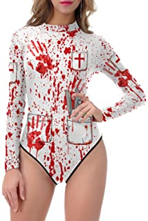 3bf24e5e25 ALBIZIA Women s Skeleton Skull Halloween Costume Cosplay Jumpsuit Romper