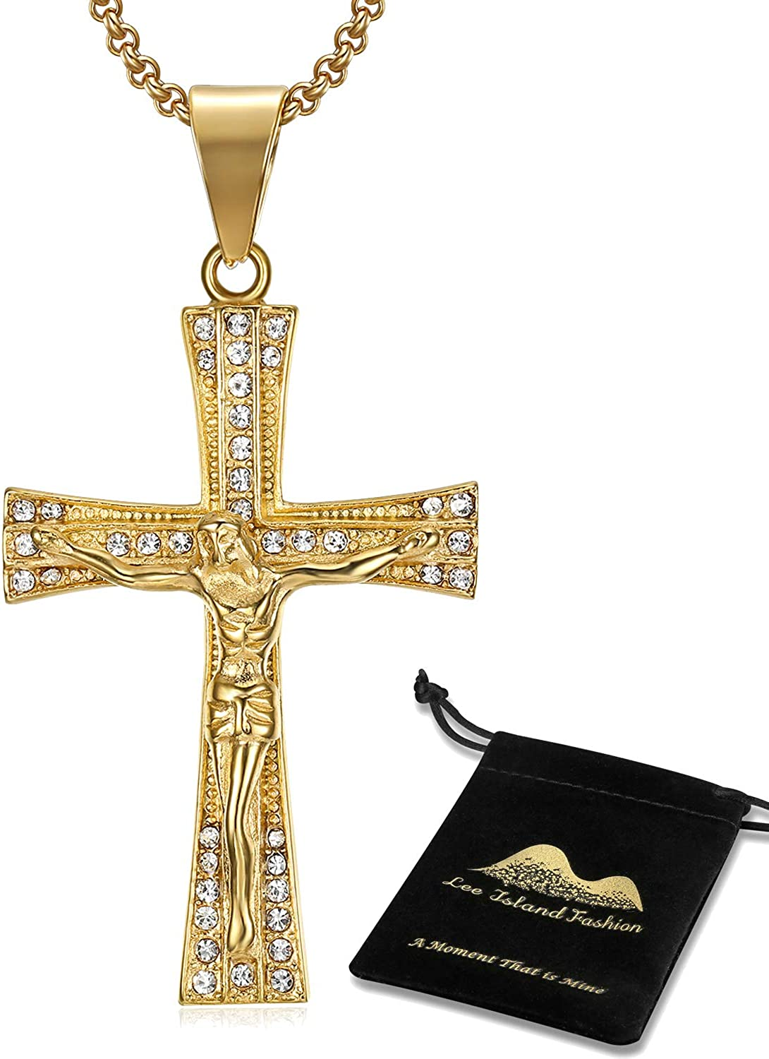 Onepine Stainless Steel Necklace Jesus Christ Crucifix Mens Necklace Antique Cross Religious Pendant Necklace Gold 24 Chain