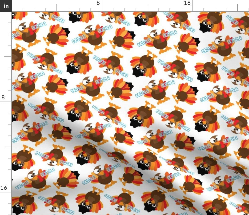 Spoonflower Fabric - Thanksgiving Funny Turkey Face Christmas Food Kids Printed on Petal Signature Cotton Fabric by The Yard - Sewing Quilting Apparel Crafts Decor