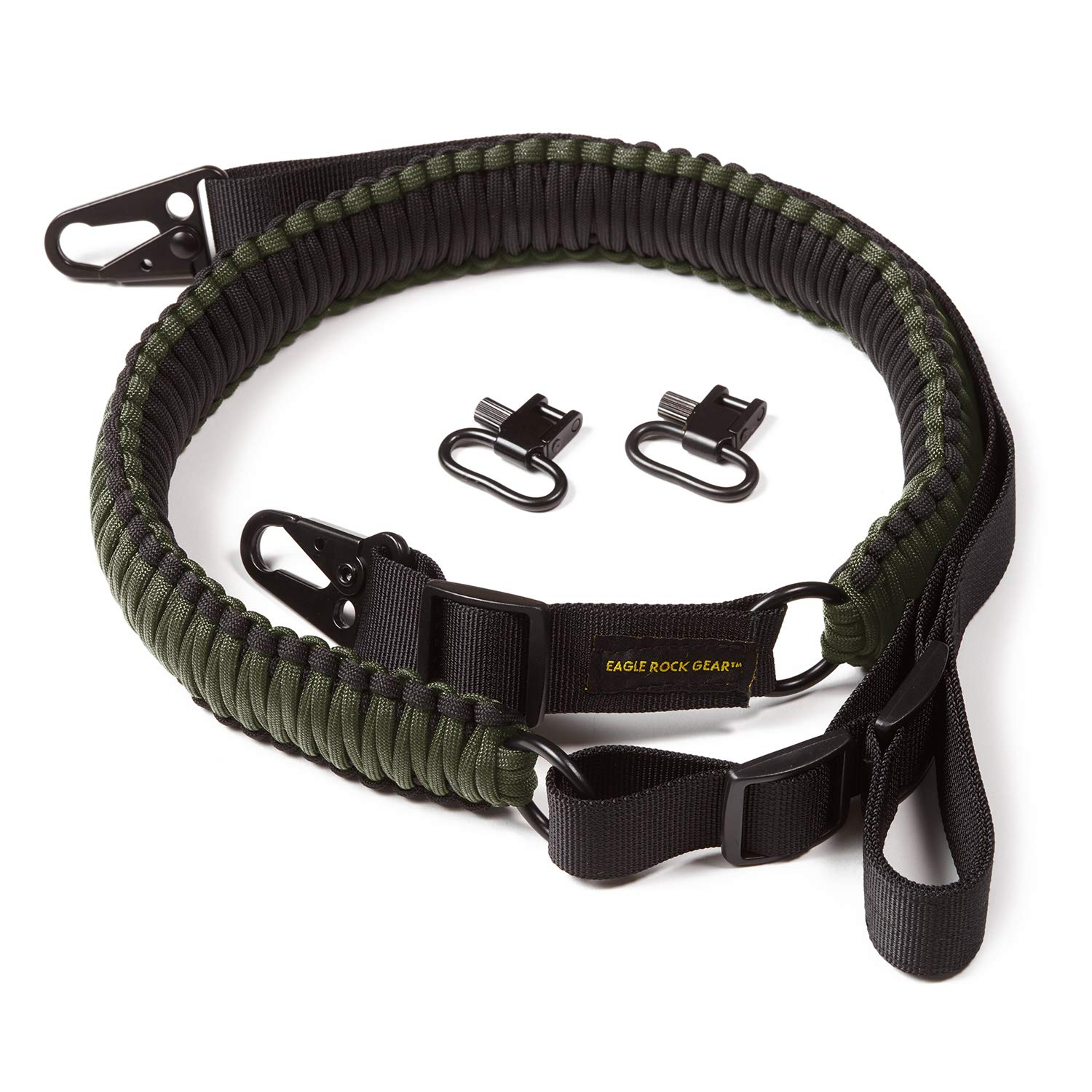 Eagle Rock Gear 550 Paracord 2 Point Gun Sling for Rifles, Shotguns, Crossbows, Airsoft - with Easy Adjustable Strap, HK Clips, Swivels - US Patent Pending (Black and Army Green) by Eagle Rock Gear