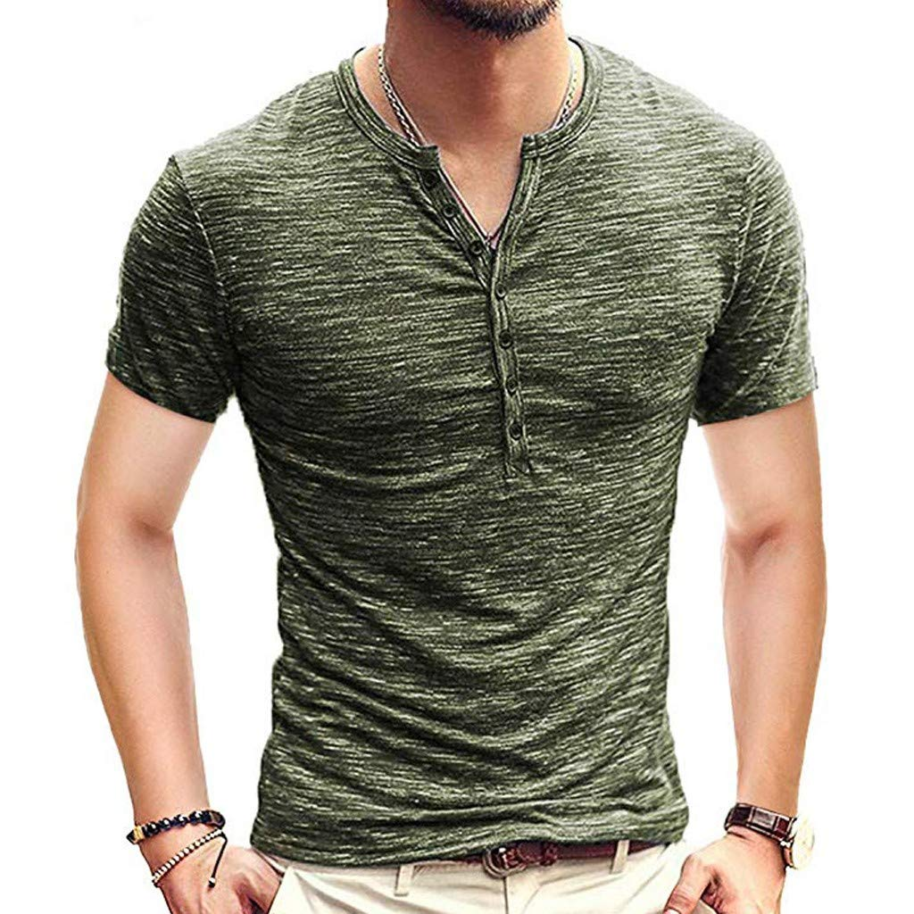 aliveGOT Mens Casual Slim Fit Short Sleeve Henley T-Shirts Cotton Shirts