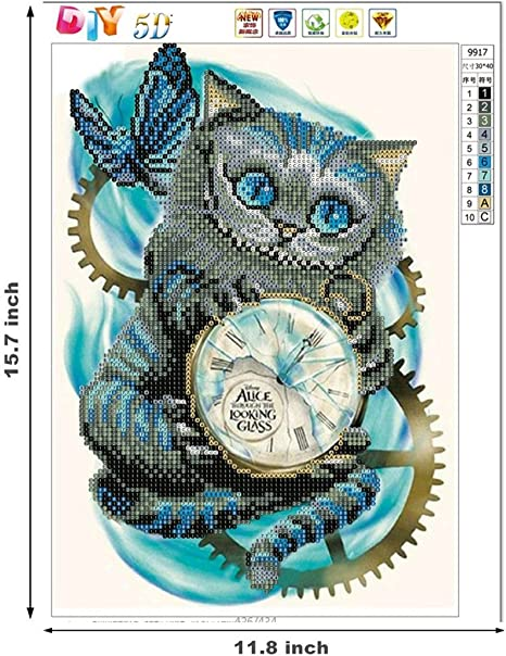 5d Diamond painting Cat Clock sonrío gato