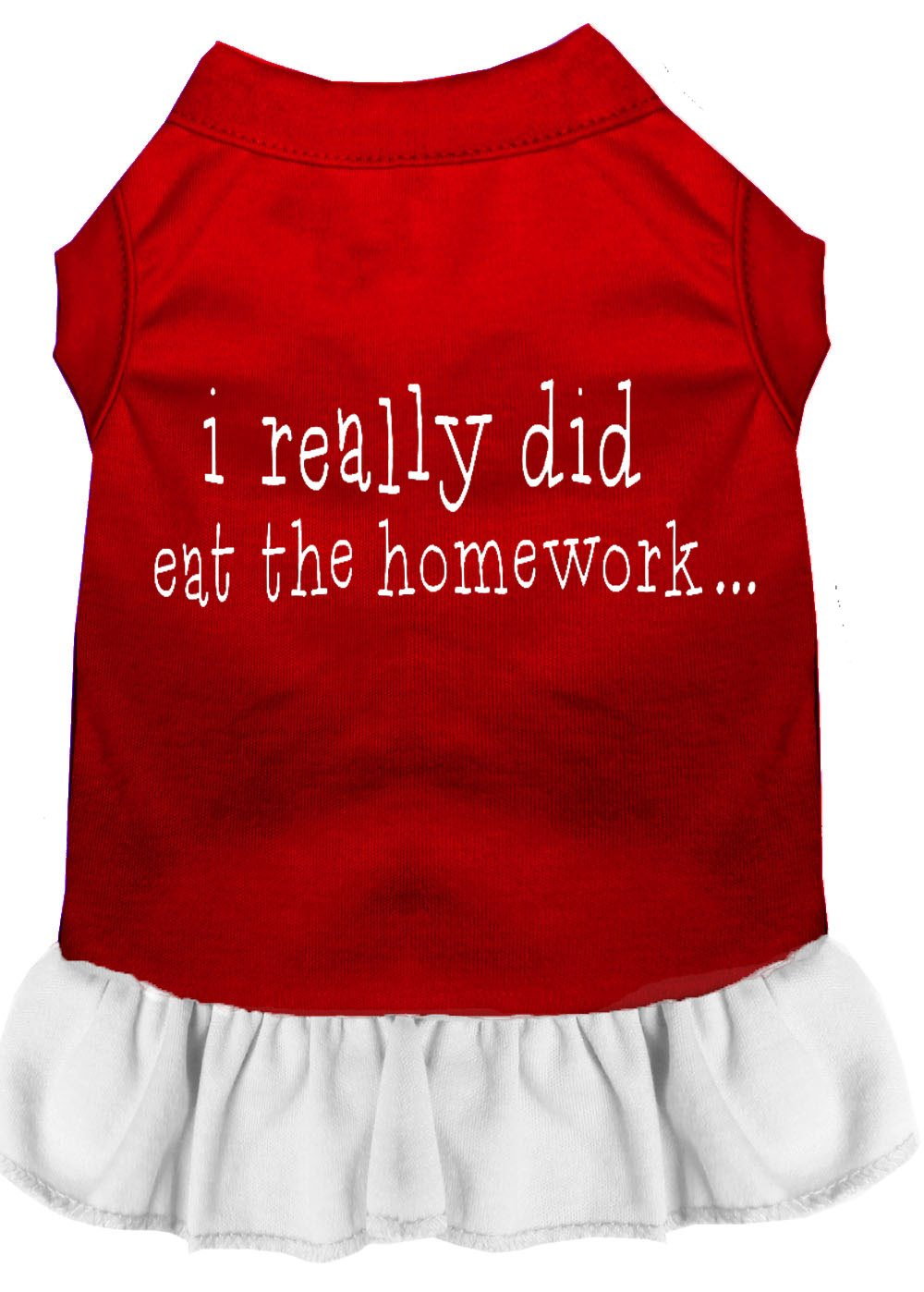 Mirage Pet Products 57-47 XXLRDWT White I Really did eat The Homework Screen Print Dress Red with, XX-Large