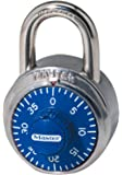 Master Lock Padlock, Standard Dial Combination Lock, 1-7/8 in. Wide, Blue, 1506D