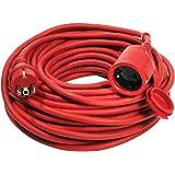as - Schwabe 60210 Profi Verlängerungkabel 10m, Gummikabel H05RR-F 3G1,5  für Outdoor / Aussen, rot