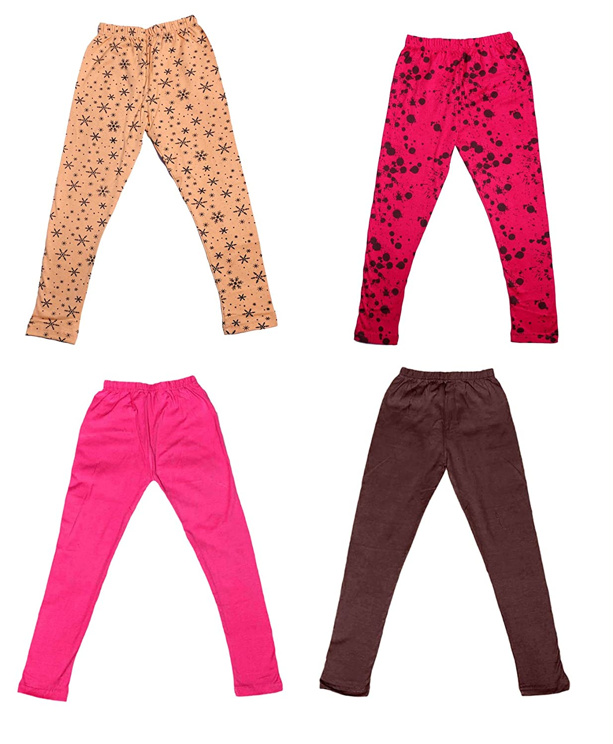 Pack Of 4 and 2 Cotton Printed Legging Pants Indistar Girls 2 Cotton Solid Legging Pants /_Multicolor/_Size-1-3 Years/_71412131920-IW-P4-22