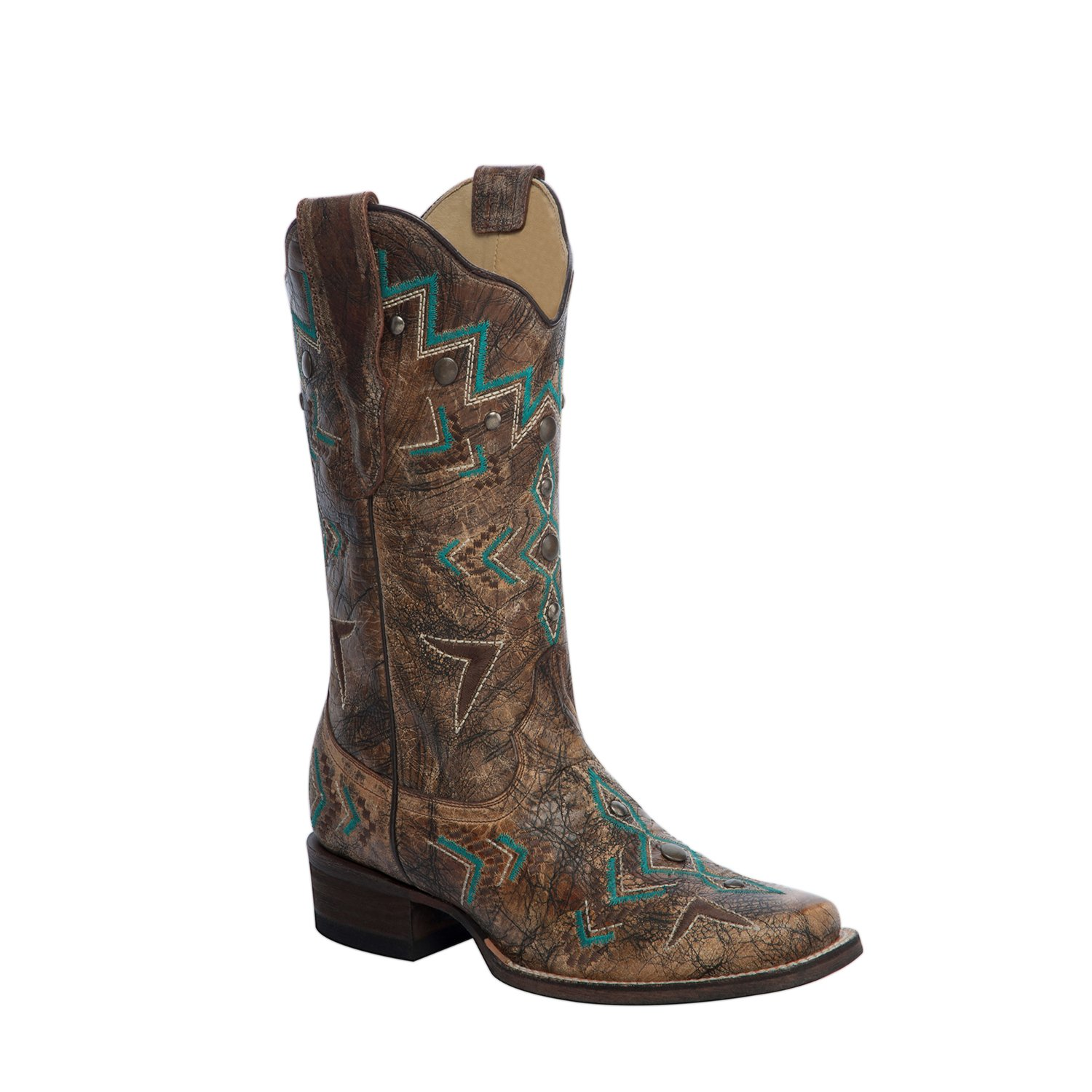 225f13639c5 Corral Women's Aztec Embroidery Bronze/Turquoise Cowboy Boots