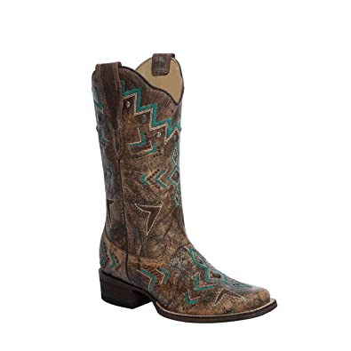 86159a35ea2 Corral Women's Aztec Embroidery Bronze/Turquoise Cowboy Boots