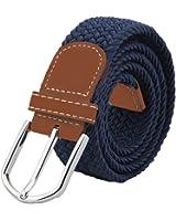 Cintura elastica intrecciato da uomo, Jtdeal unisex uomo donna vintage casual elastico tessuto tessuto intrecciato elasticizzato con fibbia in pelle PU reticolato...