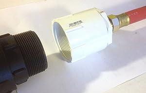 """275 - 330 Gallon IBC Tote Tank Drain Adapter 2"""" NPT Fine x Brass Garden Hose"""