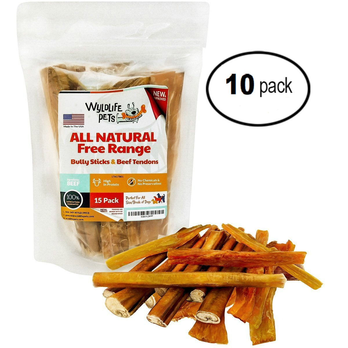 Bull's Pizzle and Beef Tendons - Large Bully Sticks Are Made With Grass Fed Cattle To Promote Dog's Muscle And Cartilage Building - A Tasty Way To Train Your Favorite Pet (10 - 15 Packs)