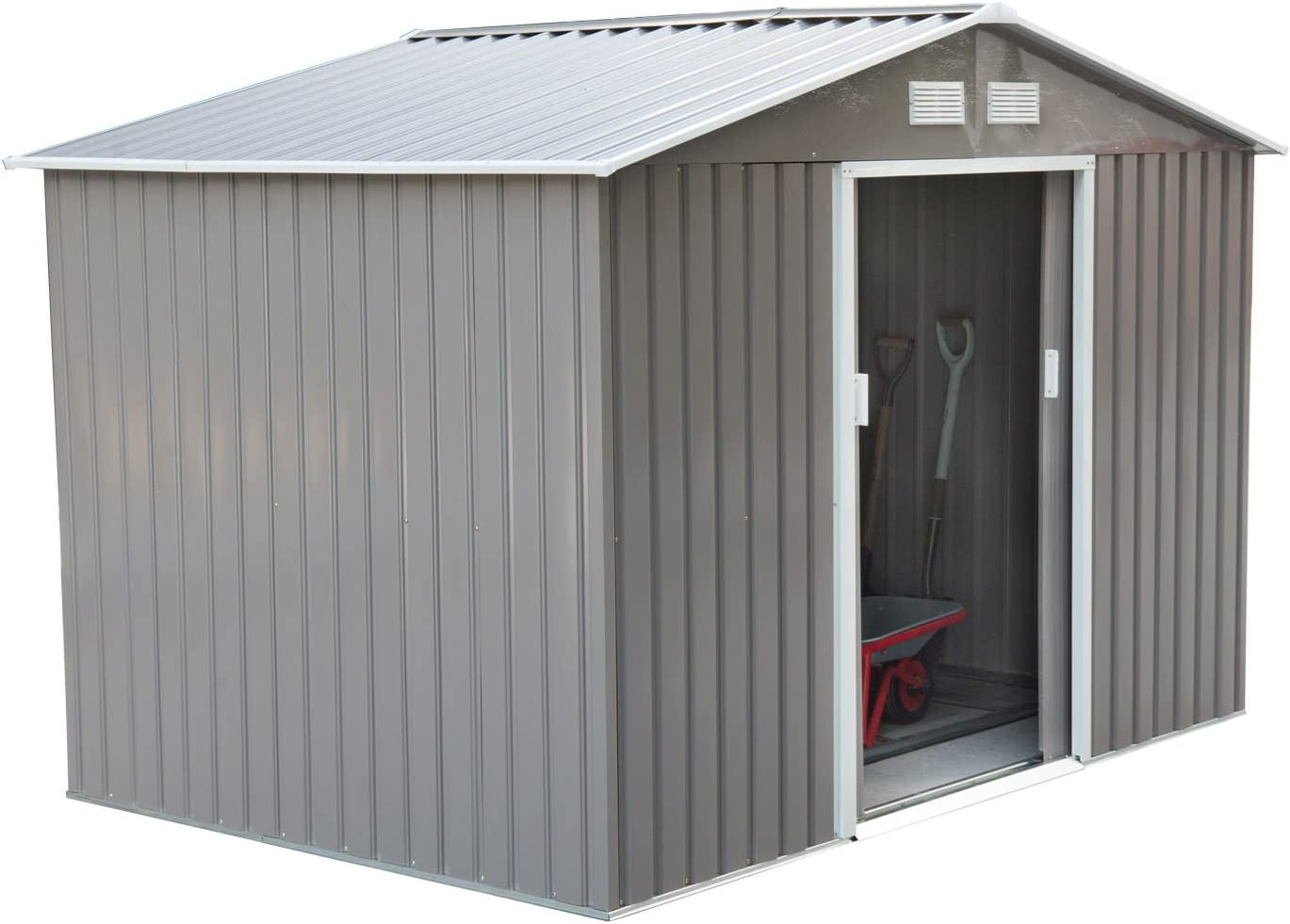 Outsunny 9' x 6' Metal Garden Shed Utility Tool Storage, Outdoor House for Backyard and Garden, Grey and White