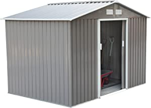 Outsunny 6' x 9' Outdoor Metal Garden Shed Utility Tool Storage, Steel Backyard House with Sliding Door, Gray and White