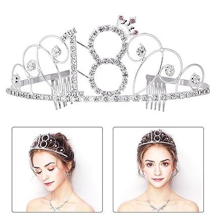 FRCOLOR Feliz cumpleaños décimo octavo corona cristalina de plata de la tiara del cumpleaños