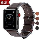 Fullmosa apple watch対応 バンド 38mm 40mm, アップルウォッチバンドベルト apple ウォッチ4 3 2 1 バンド iwatchバンド 交換ベルト 本革 レザー 38mm/40mm コーヒー色+スモーキーグレーバックル