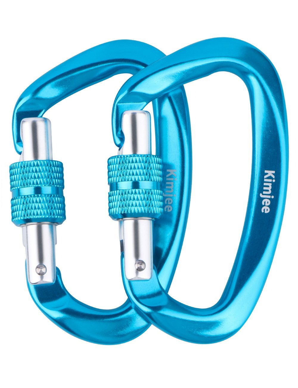 2PCS 12KN Carabiner D-Ring for Camping Locking Screwgate Key Chain Clip Hook