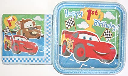 Amazon Com Disney Cars 1st Birthday Party Supplies Napkins And