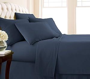 Southshore Fine Living, Inc. Vilano Springs - Premium Collection 6-Piece, 21 Inch Extra-Deep Pocket Sheet Sets, Dark Blue, Queen