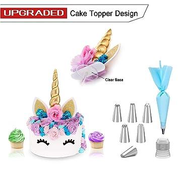 Unicornio de la torta del oro 3D para la boda del cumpleaños + Kit de Herramientas Decorar con 6 Consejos formación de hielo 1 de repostería bolsa ...