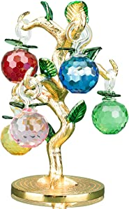 YU FENG Rainbow Artificial Crystal Apple Tree with 6- Color Chakra Healing Crystals Lucky Tree for Living Room Centerpiece Decorations