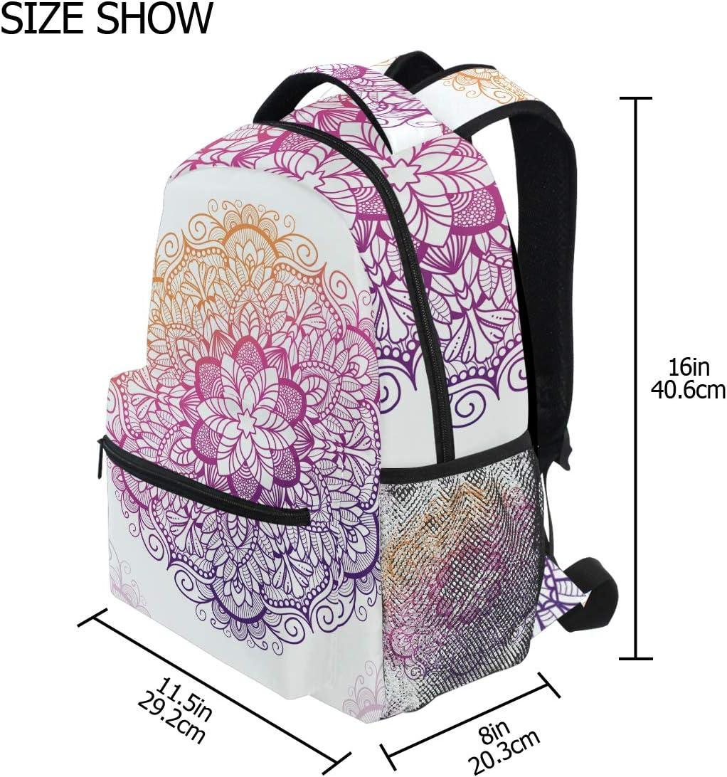 Backpack Fashion Laptop Daypack Mandala Boho Indian Retro Travel Backpack for Women Men Girl Boy Schoolbag College School Bag Canvas