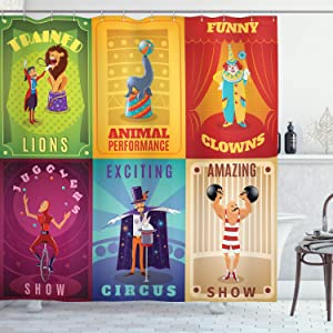 """Ambesonne Circus Shower Curtain, Circus Characters with Trained Animals Strong Man Trapeze Artist Retro Show Design, Cloth Fabric Bathroom Decor Set with Hooks, 70"""" Long, Purple Green"""