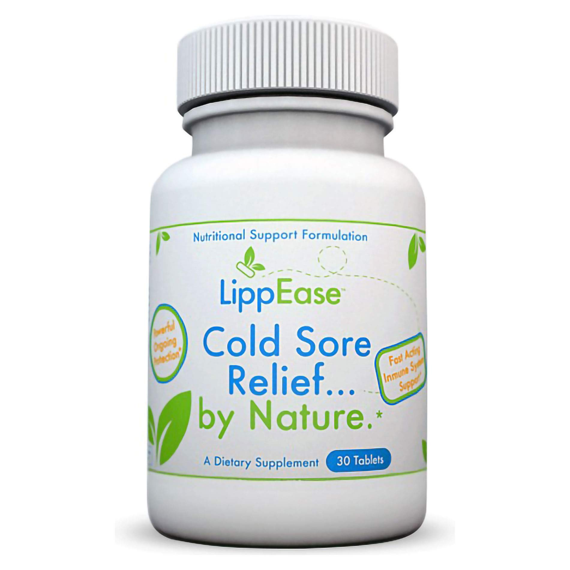 LippEase Natural Cold Sore & Herpes Treatment Supplement - Prevent & Speed up Cold Sore, Herpes or Fever Blister Outbreaks - Immune System Support -30 Count Tablets - 1 Pack