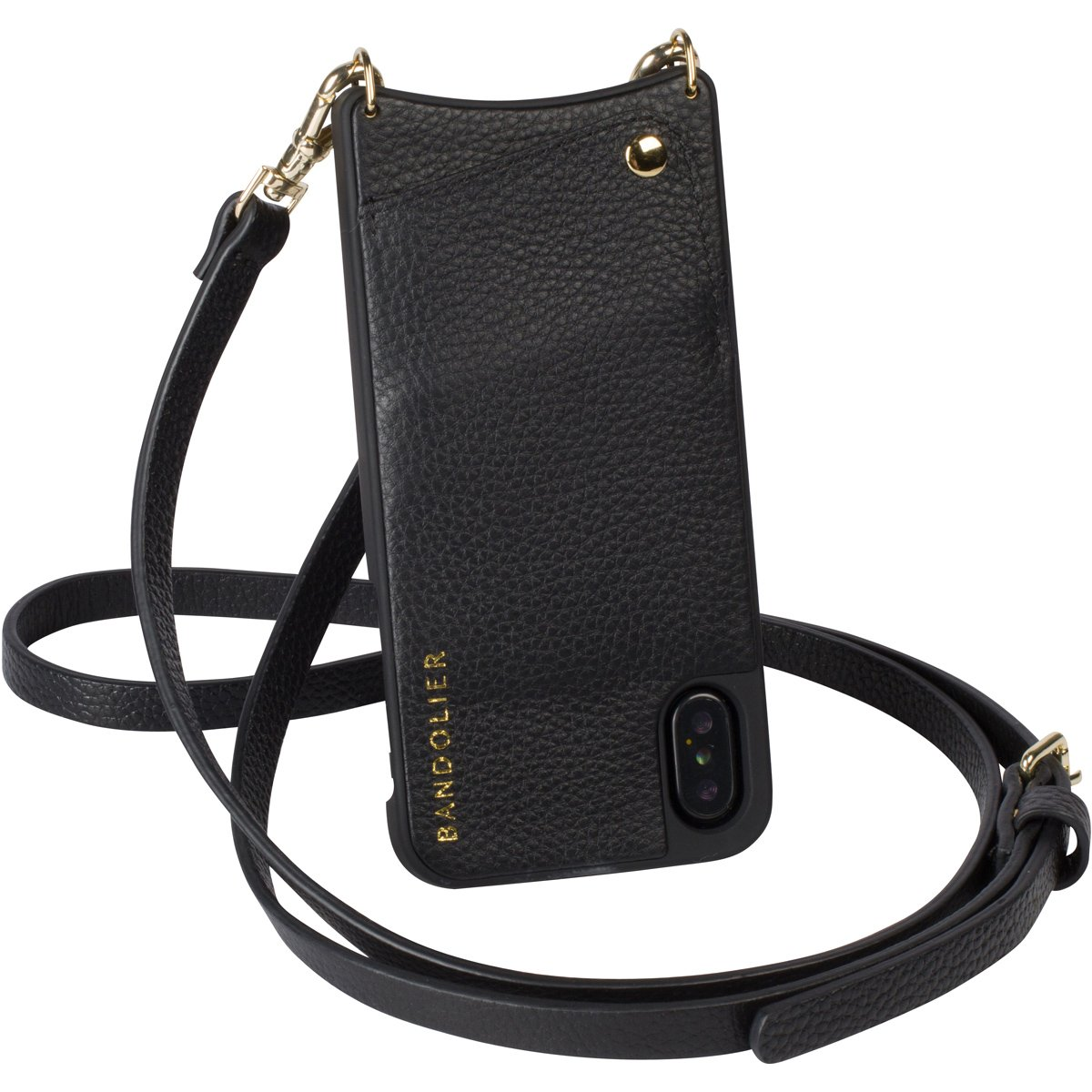 Bandolier [Emma] Crossbody Phone Case and Wallet - Compatible with iPhone X & XS - Black Leather with Gold Accent