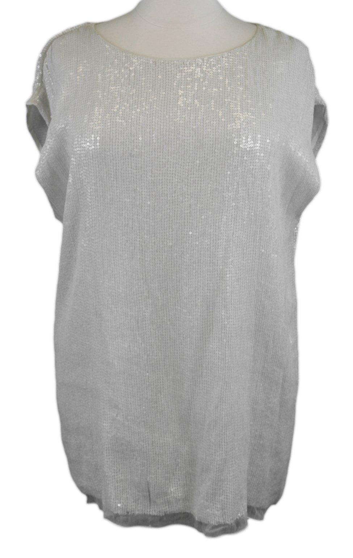 MARINA RINALDI by MaxMara Farsi Cream Sequin Embellished Top 18W / 27