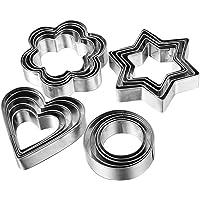Fomatrade Cookie Cutter Mold Vegetable Fruit Cutter Shapes Set Stainless Steel(20pcs) 5 Stars Shape 5 Flowers Shape 5…