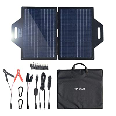 TP-solar 60 Watt Foldable Solar Panel Battery Charger Kit for Portable Generator Power Station Cell Phones Laptop 12V Car Boat RV Trailer Battery Charge (Dual 5V USB & 19V DC Output) : Garden & Outdoor