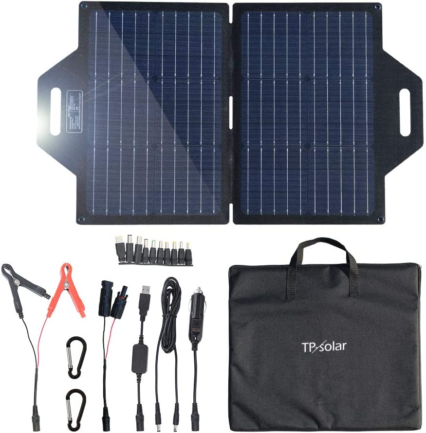 TP-solar 60 Watt Foldable Solar Panel Battery Charger Kit for Portable Generator Power Station Cell Phones Laptop 12V Car Boat RV Trailer Battery Charge (Dual 5V USB & 19V DC Output)