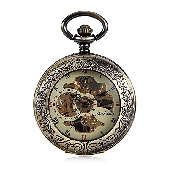 Antique Bronze Tone Clock Transparent See Though Case Steampunk Skeleton Mechanical Pocket Watch for Men Gifts
