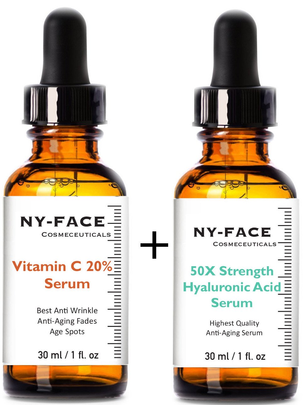 NY FACE's Vitamin C 20% Serum & 50x strength Hyaluronic Acid Serum with Vitamin C, Vitamin E SET