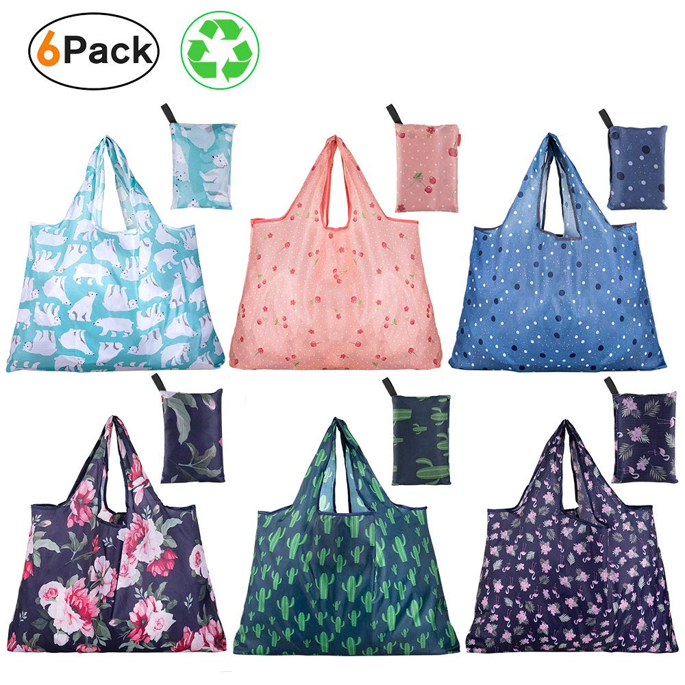 Reusable Grocery Bags, Shopping Bags Foldable with Pouch, Pack of 6, Large 45lbs Weight, Cute Groceries Bags, Oxford Waterproof Fabric, Environment friendly, Washable, Durable and Lightweight by TROPRO