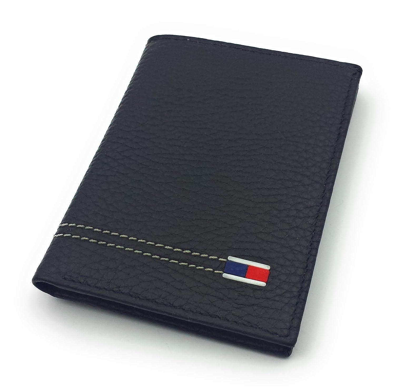 FJR-ArtPiel - Tarjetero, billetero vertical Piel Ubrique con bandera tricolor - Alta Calidad - Negro