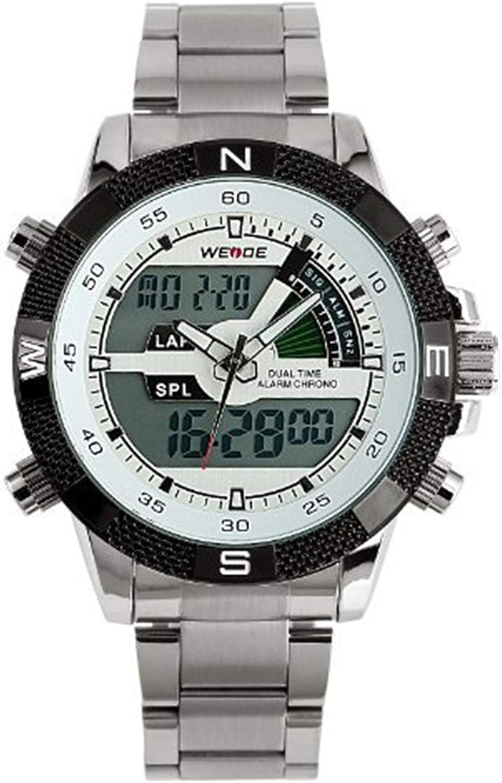 ESS White Digital Display Stainless Steel Case Mens Quartz Watch LED Light Silver Alarm Man Watch WM333