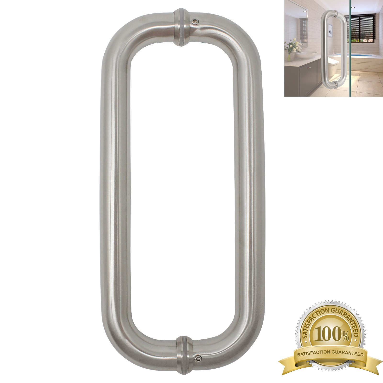 Stainless Steel Heavy Duty Bar to Bar Pipe Flush Door Pulls 12'' Total Length 11.2inch Hole Centers Barn Door Handle Pairs
