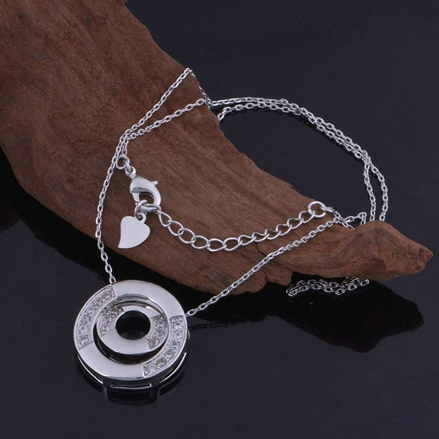 Aokarry Jewelry Silver Plated Round Disc Pendant Cubic Zirconia for Women