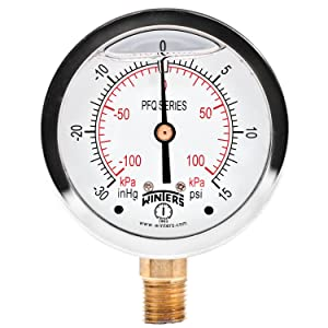 "Winters PFQ Series Stainless Steel 304 Dual Scale Liquid Filled Pressure Gauge with Brass Internals, 30"" Hg Vacuum-0-15 psi/kpa,2-1/2"" Dial Display, +/-1.5% Accuracy, 1/4"" NPT Bottom Mount"