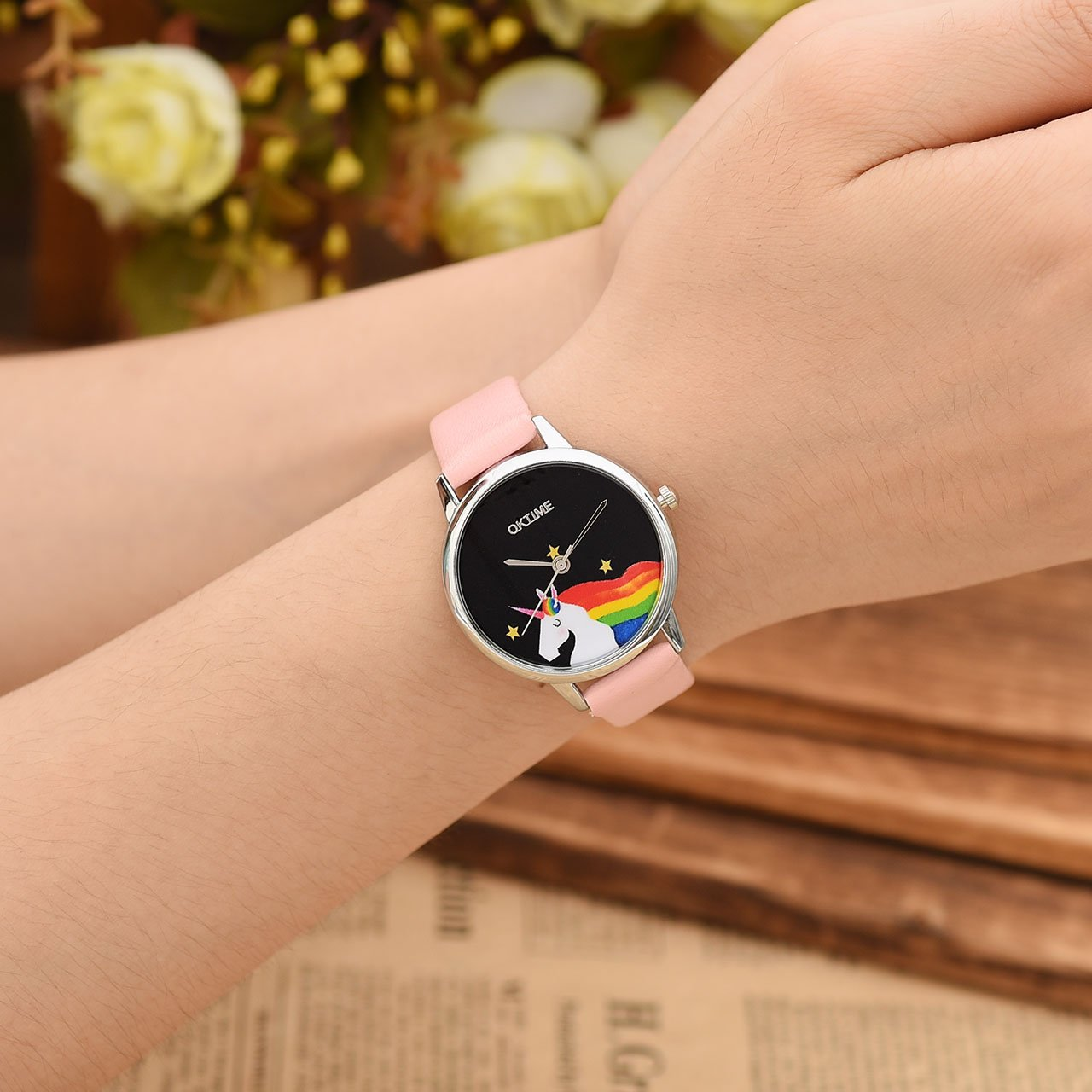 JSDDE Uhren, Cute Farbe Damen Armbanduhr Cartoon Einhorn Design Kleid Uhren Wasserdicht PU Lederband Silber Quarz Uhr,Rosa