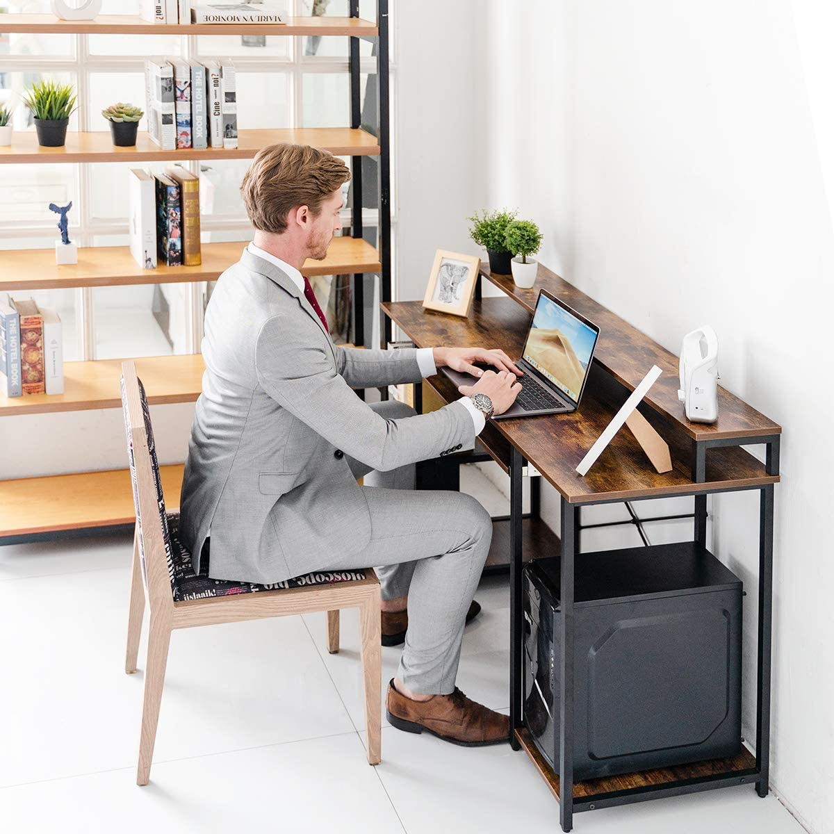 """Industrial Style TOPSKY 47/"""" Computer Desk with Storage Shelves//Keyboard Tray//Monitor Stand Study Table for Home Office"""