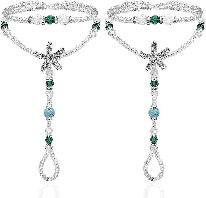 Foot Jewelry for Women Teen Girls Great Foot BraceletStars Bell Curve Women Anklet Bracelet Sandal Barefoot Beach Foot Jewelry