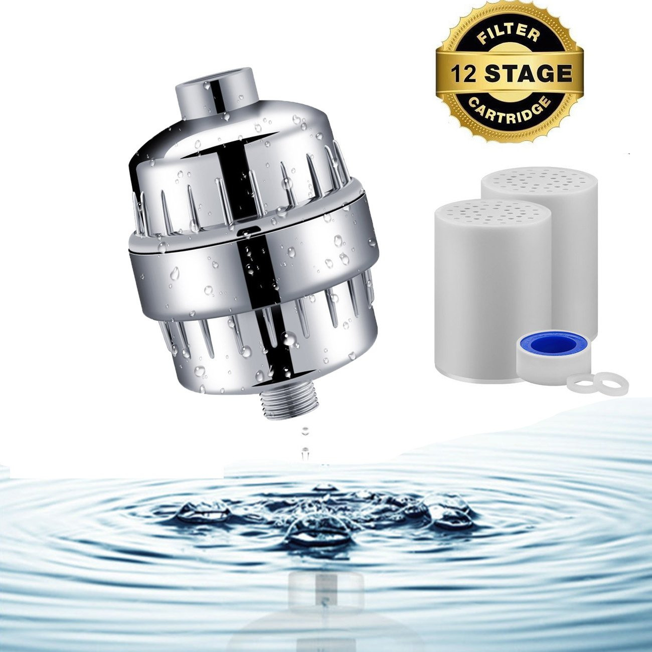 Doccia filtro per acqua dura,12 fasi acqua purificatore ammorbidente con 2 cartucce sostituibili per la rimozione di cloro, odori e altre sostanze nocive zolfo Flouride, metalli pesanti, Allucky
