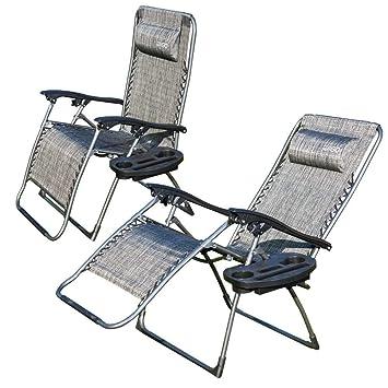 ziigo chaise longue de camping pliable et rglable 2 set transat jardin fauteuil relax inclinable - Transat De Jardin
