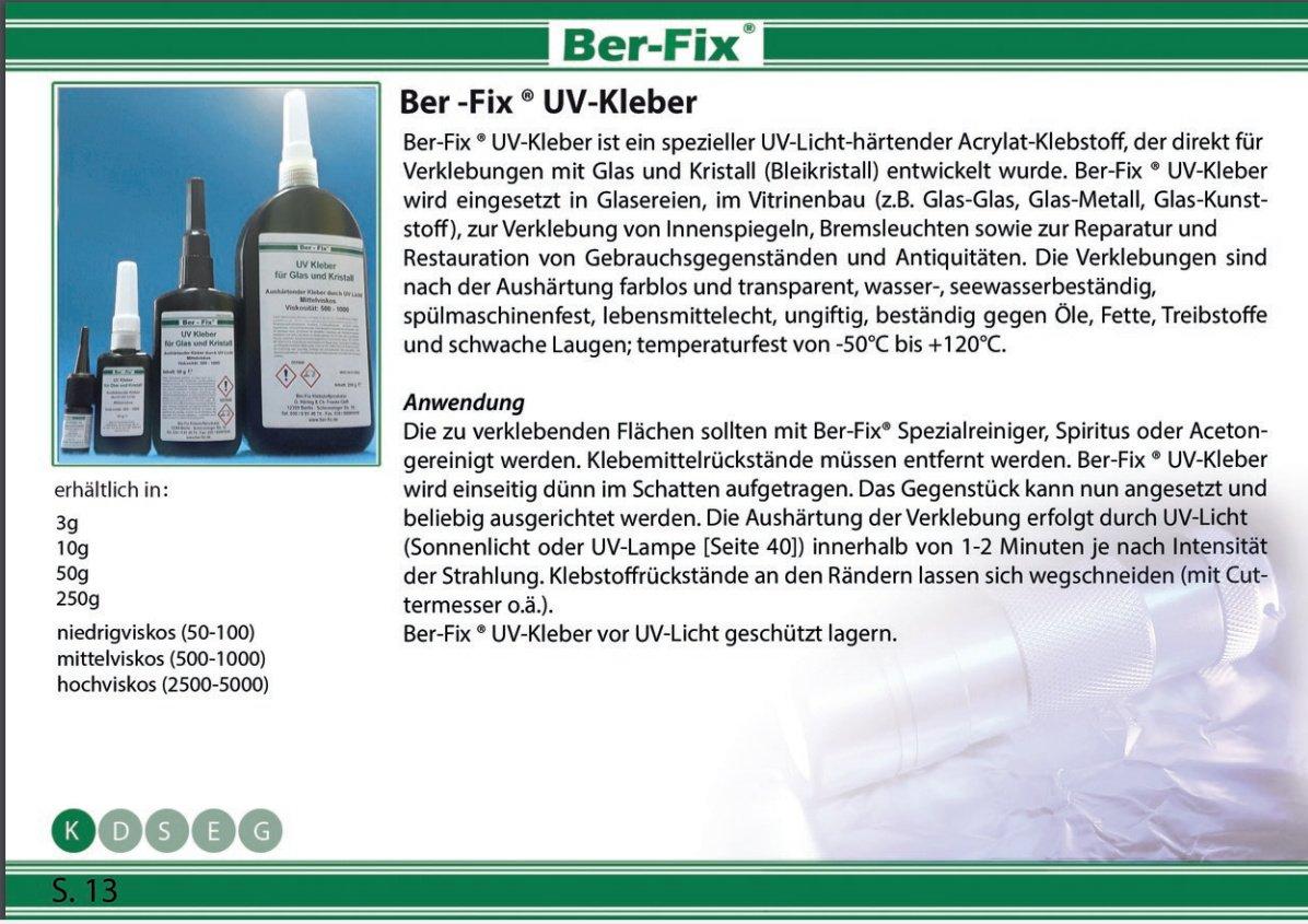 Ber-Fix UV Adesivo bassa viscosità - per Vetro/vetro vetro/Metallo 50-100, 3 g FoxFix®