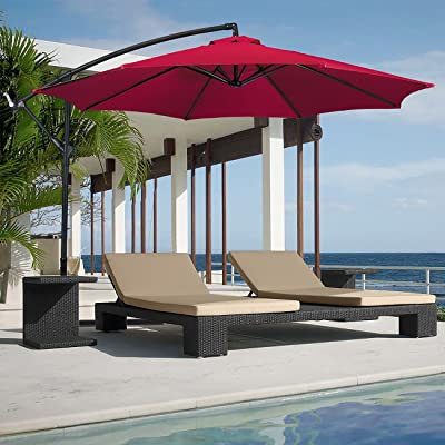Belleze 10ft Outdoor Patio Umbrella Sun Shade Hand Crank Tilt UV Resistant Cantilever Octagonal Large w/Base, Red Color:Burgundy