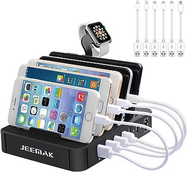 Estación de Carga, JEEMAK USB de 6 Puertos Cargador Rápido con ...